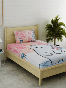 Polar Bear Print 100% Cotton Bedsheet Set