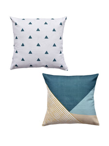 Set of 2 Multi Colour Cushion Covers Digital Print Cotton Canvas Material - 16x16 Inches