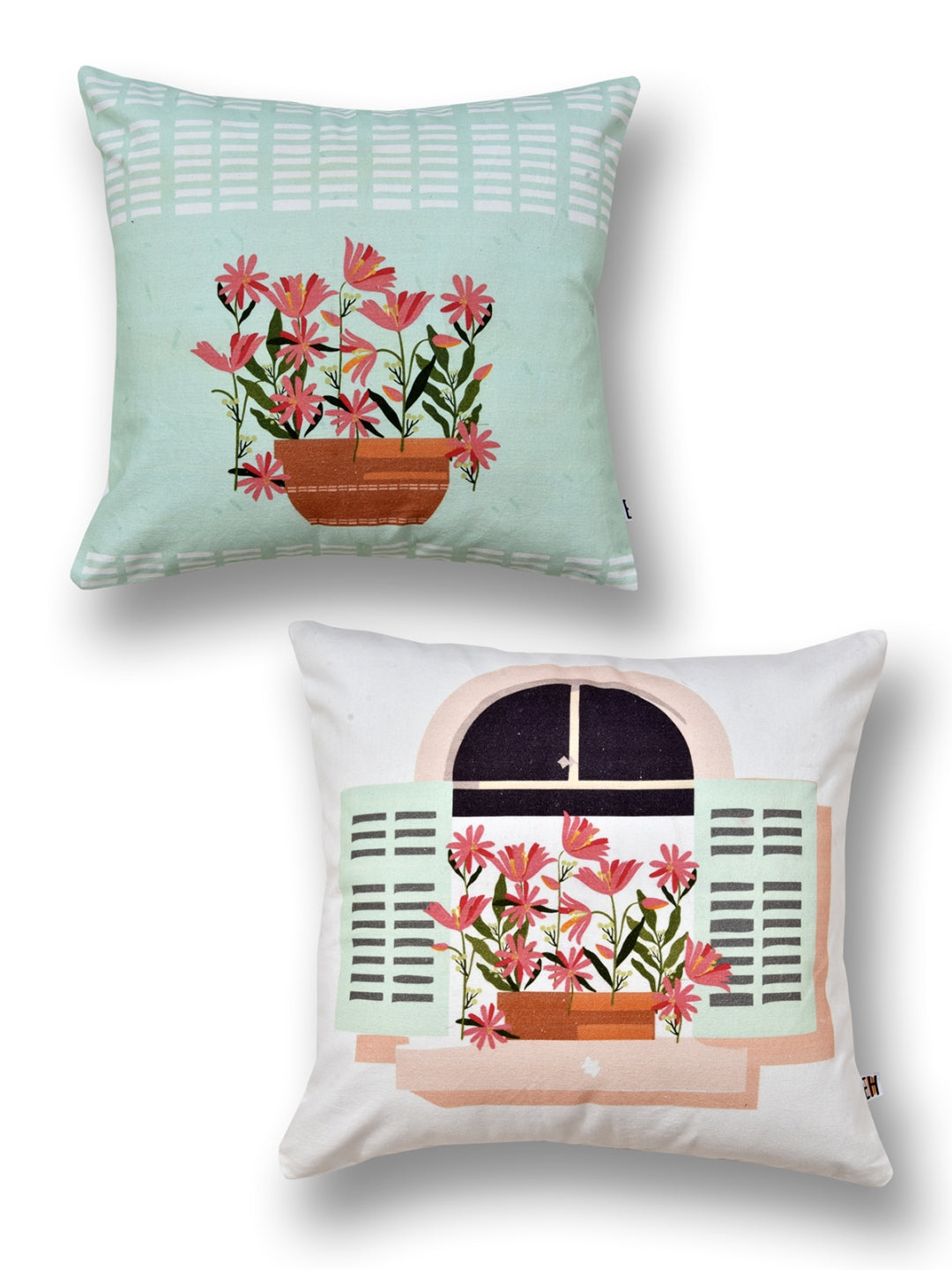 Flower Print Set of 2 Cushion Cover