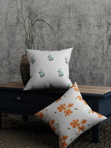 Orange Green Flower Print Set of 2 Cushion Cover