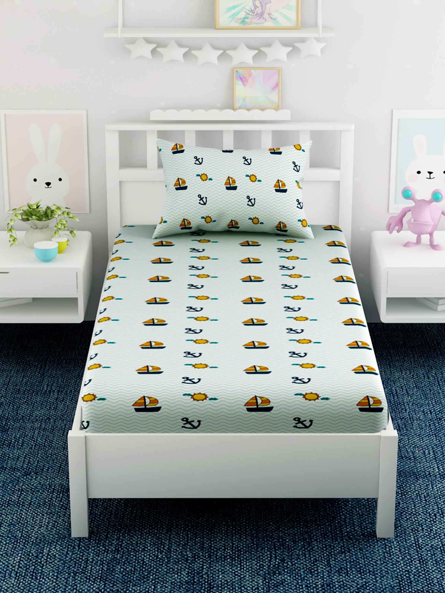Kids Anchor Printed 100% Cotton Single Bedsheet Set