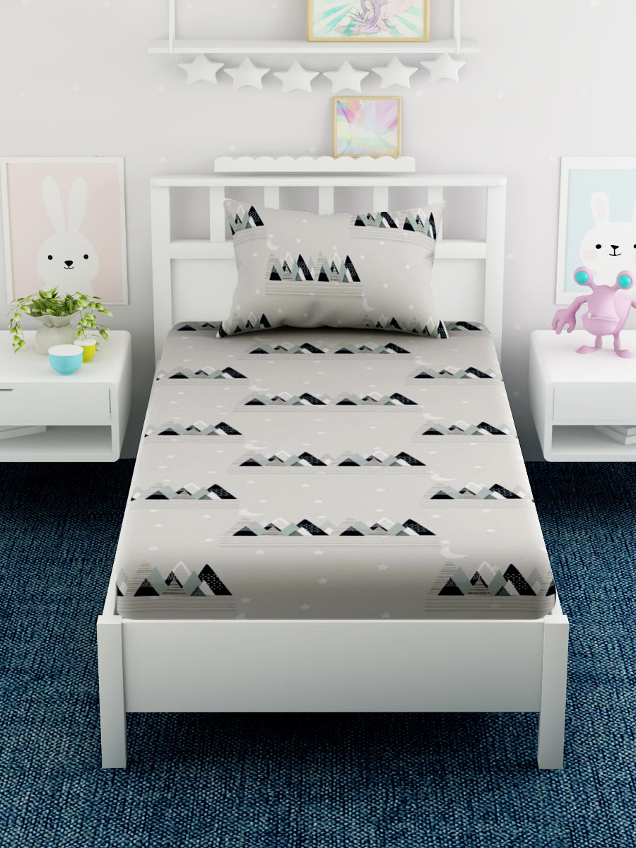 Kids Printed 100% Cotton Single Bedsheet Set