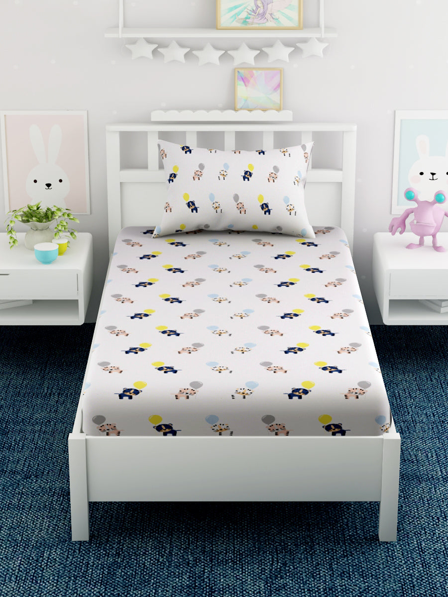 Kids Cartoon Printed 100% Cotton Single Bedsheet Set