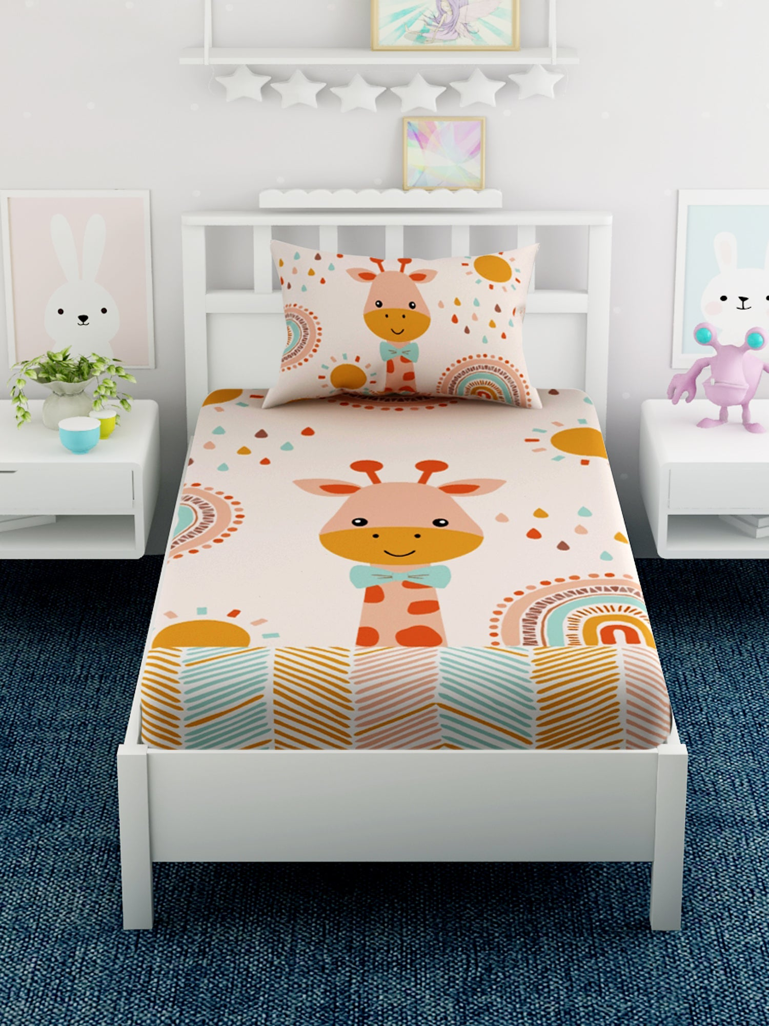 Kids Giraffe Printed 100% Cotton Single Bedsheet Set