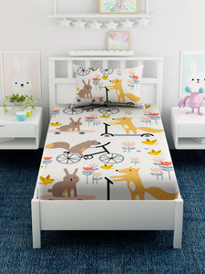Kids Cartoon Printed Cotton Single Bedsheet with 1 Pillow Covers