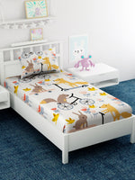 Load image into Gallery viewer, Kids Cartoon Printed Cotton Single Bedsheet with 1 Pillow Covers