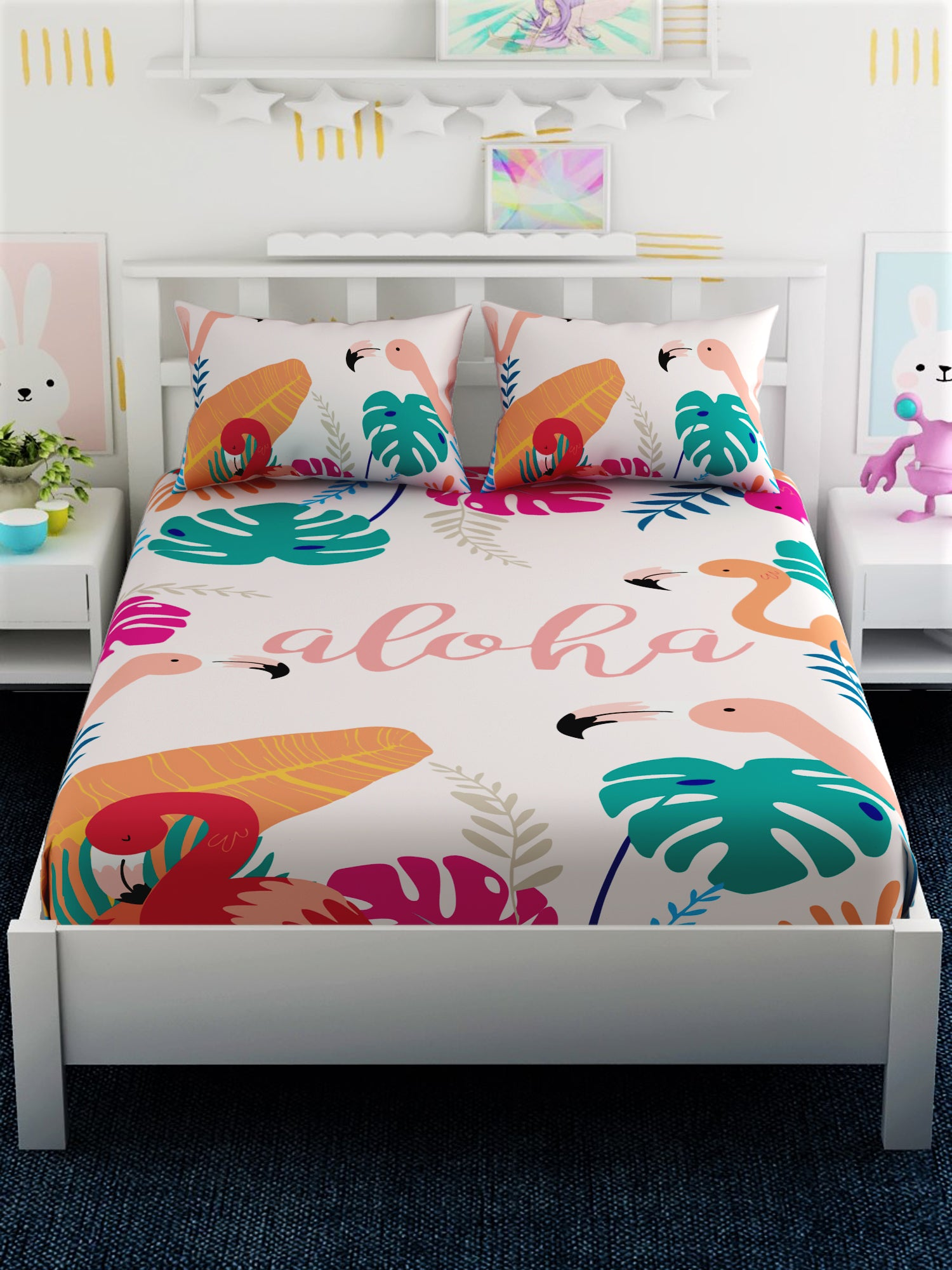 Kids Printed 100% Cotton Double Bedsheet Set