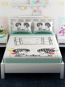 Kids Printed 100% Cotton King Size Bedsheet Set