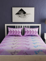 Load image into Gallery viewer, Purple Floral Print 100% cotton Bedsheet