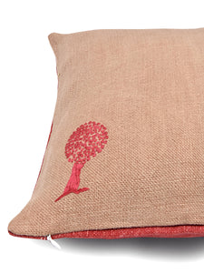 Pink and Red Hemp Tree Hand Embroidered Cushion Cover