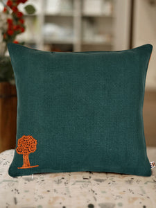 Hemp Fabric Hand Embroidered with Tree Design Cushion Cover - Green and Orange