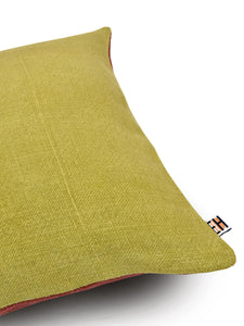 Olive Green and Brown Hemp Tree Hand Embroidered Cushion Cover
