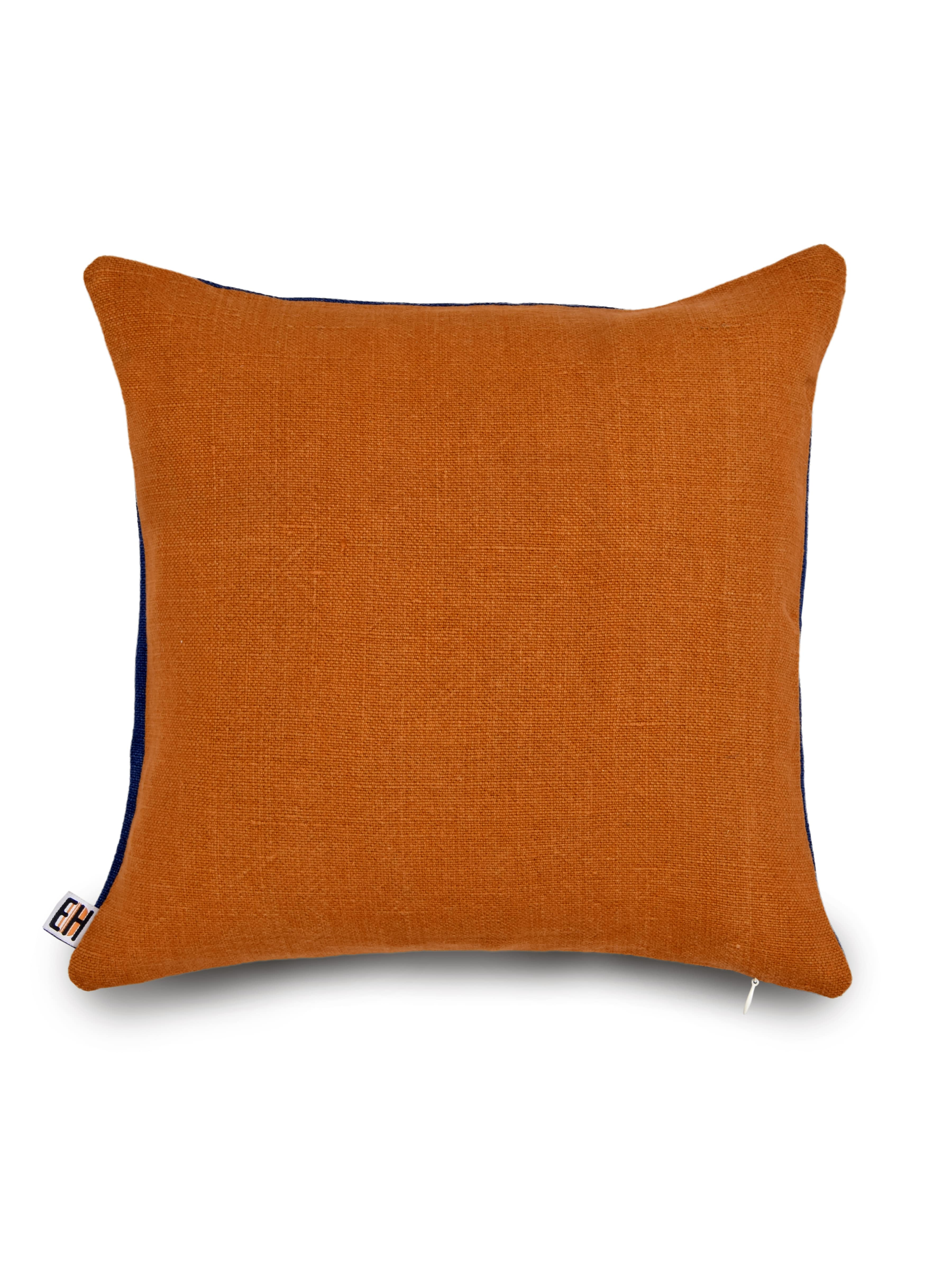 Blue and Orange Hemp Floral Hand Embroidered Cushion Cover