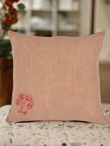 Pink and Red Hemp Floral Hand Embroidered Cushion Cover