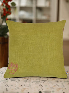 Olive Green and Brown Hemp Floral Hand Embroidered Cushion Cover