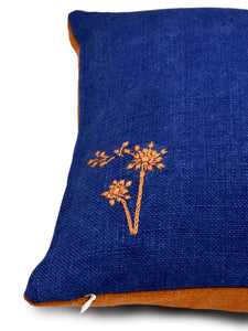 Blue and Orange Hemp Plant Hand Embroidered Cushion Cover