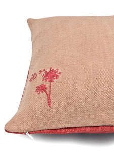 Pink and Red Hemp Plant Hand Embroidered Cushion Cover