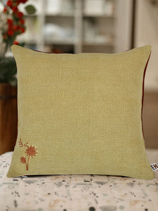 Beige and Brown Hemp Plant Hand Embroidered Cushion Cover