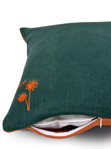Green and Orange Hemp Plant Hand Embroidered Cushion Cover