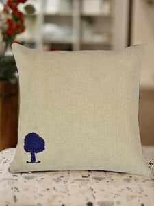 Beige and Purple Hemp Tree Hand Embroidered  Cushion Cover