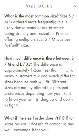 The LaCkore Couture bracelet sizing guide.