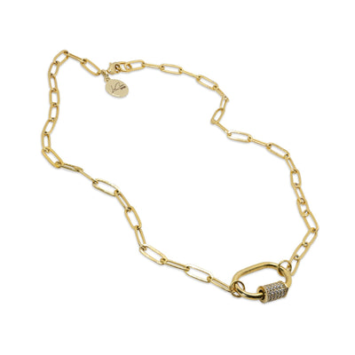 Crystal Link Lock Charm Necklace LaCkore Couture
