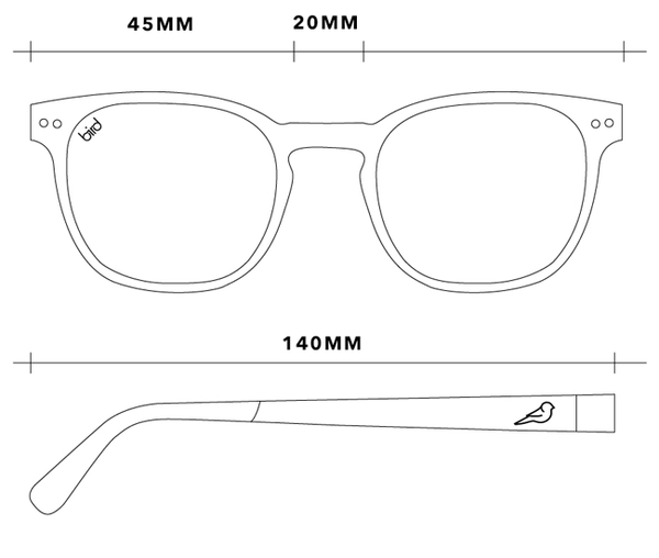 Alba bio acetate glasses dimensions