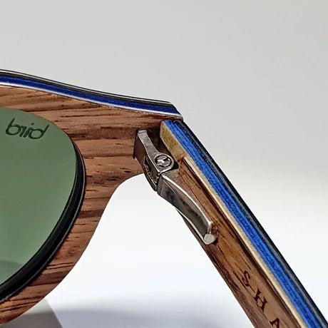 Award-winning blackcap sunglasses design with multi-layered wooded construction and aluminium layers for strength
