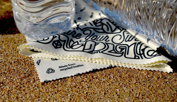 Bird eyewear cleaning cloth mae with recycled bottles