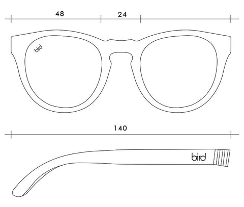 Bird Sunglasses-Sustainable Eco-Friendly glasses for Women and Men Frame measurements