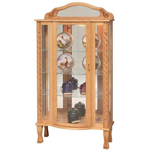 Amish USA Made Handcrafted Tri-Front Curio sold by Online Amish Furniture LLC