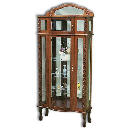 Amish USA Made Handcrafted Tri-Front Bonnet Top Curio sold by Online Amish Furniture LLC