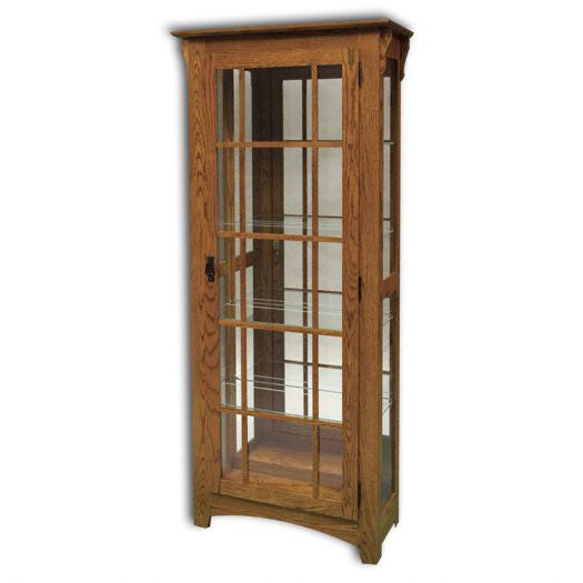 Amish USA Made Handcrafted Mission Single Door Curio sold by Online Amish Furniture LLC