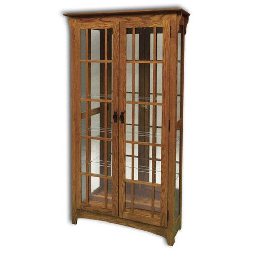 Amish USA Made Handcrafted Mission Double Door Curio sold by Online Amish Furniture LLC