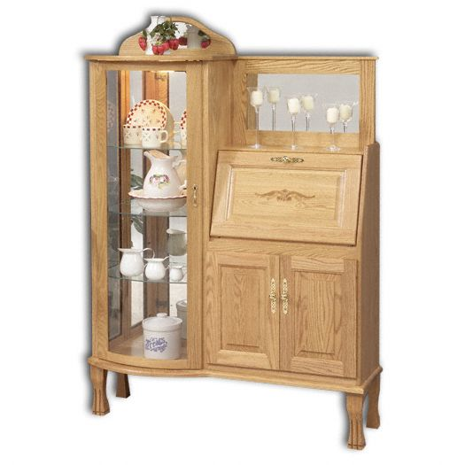 Amish USA Made Handcrafted Rectangular Curio with Secretary Desk sold by Online Amish Furniture LLC