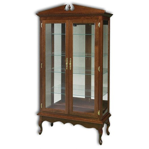 Amish USA Made Handcrafted Queen Ann Double Door Curio sold by Online Amish Furniture LLC