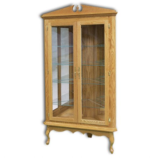Amish USA Made Handcrafted Queen Anne Corner Curio sold by Online Amish Furniture LLC