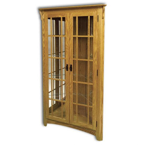 Amish USA Made Handcrafted Corner Mission Curio sold by Online Amish Furniture LLC