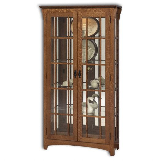 Amish USA Made Handcrafted Mission Double Door Curio W-Mullions sold by Online Amish Furniture LLC