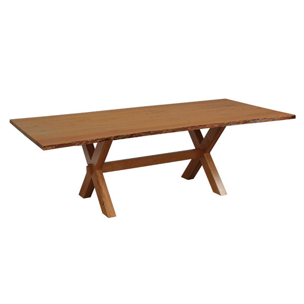 Amish USA Made Handcrafted Frontier Live Edge Trestle Table sold by Online Amish Furniture LLC