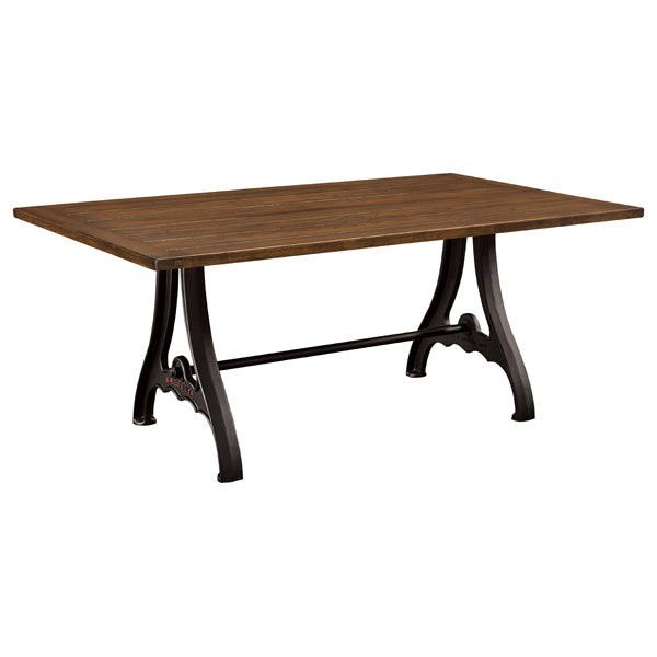Amish USA Made Handcrafted Iron Forge Trestle Table sold by Online Amish Furniture LLC