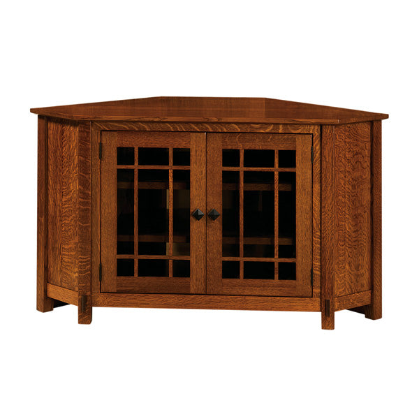 Amish USA Made Handcrafted McCoy Corner TV Cabinet sold by Online Amish Furniture LLC