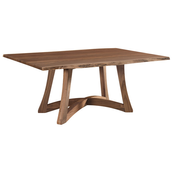 Amish USA Made Handcrafted Tifton Live Edge Trestle Table sold by Online Amish Furniture LLC