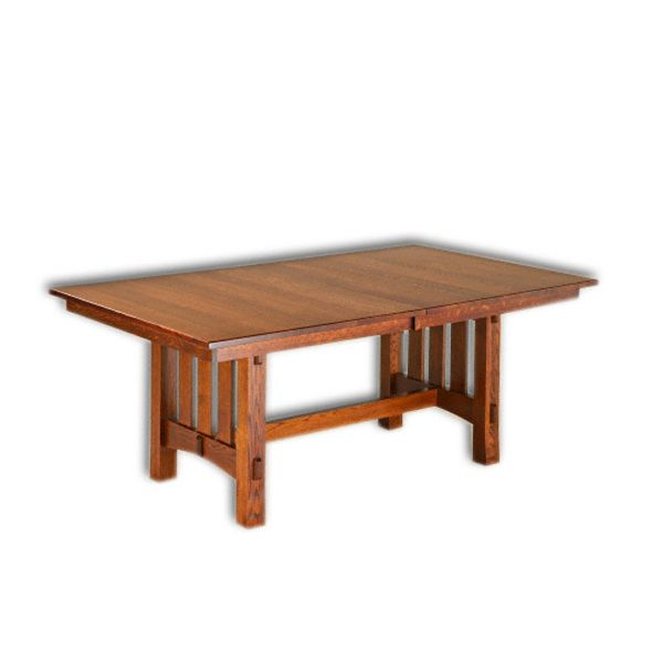 Amish USA Made Handcrafted Aspen Mission Trestle Table sold by Online Amish Furniture LLC