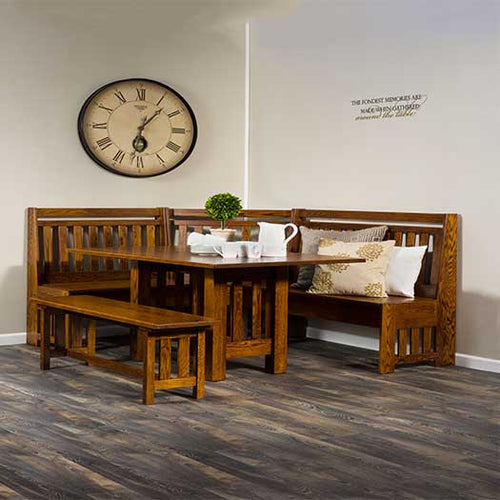 Amish USA Made Handcrafted Bay Hill Slat Nook Set sold by Online Amish Furniture LLC