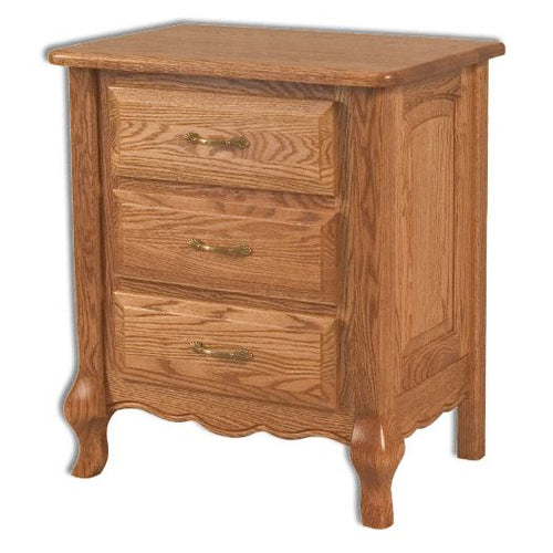 Amish USA Made Handcrafted French Country 3 Drawer Bedside Chest sold by Online Amish Furniture LLC
