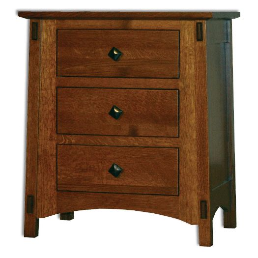 Amish USA Made Handcrafted McCoy 3 Drawer Nightstand sold by Online Amish Furniture LLC