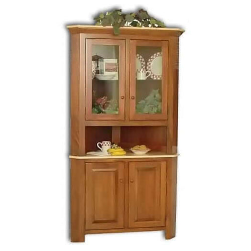 Amish USA Made Handcrafted Brookline Corner Hutch sold by Online Amish Furniture LLC