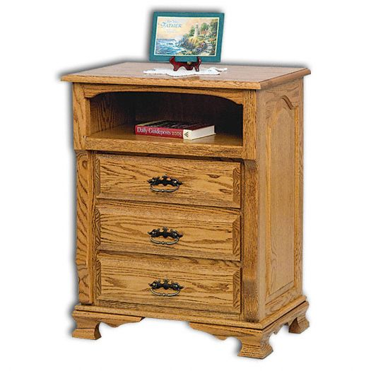 Amish USA Made Handcrafted Classic Heritage 3-Drawer with Opening Nightstand sold by Online Amish Furniture LLC