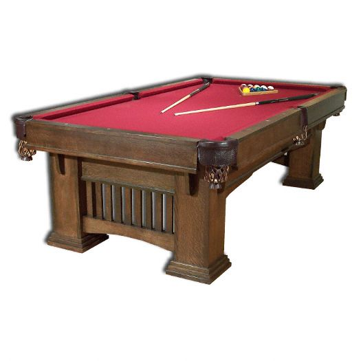 Amish USA Made Handcrafted Classic Mission Billiard Table sold by Online Amish Furniture LLC
